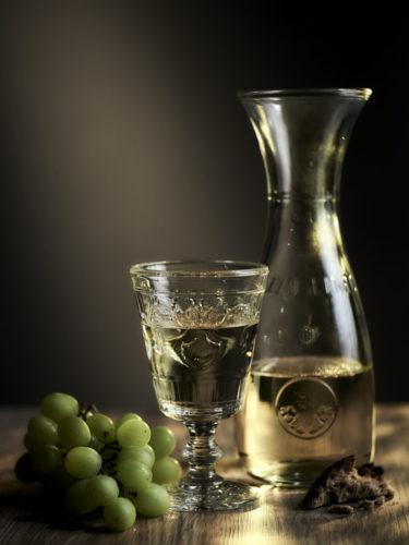 Stilleben Weinglas mit Trauben
